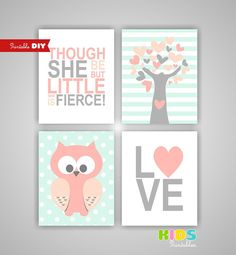 Printable DIY Girl Nursery Art Prints, Peach, Light Coral, Mint, Heart, Tree, Owl, Love, She is little fierce, Set of 4 8x10 JPG ( stpm ) on Etsy, $17.45 AUD