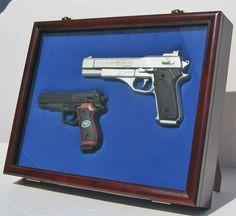 Handgun Display Shadow Box Case Cabinet With, Lockable Glass Door