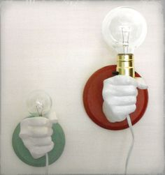 Hand Holding Bulb Wall Lamp Red by KaraGunter on Etsy, $60.00