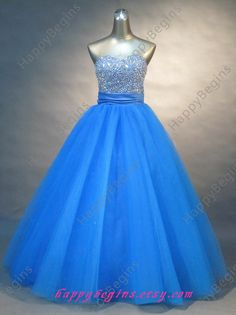 Long Beaded Blue Prom Dress/ Prom Gowns/ Homecoming by HappyBegins, $139.00