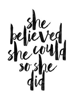 52 She Believed She Could So She Did, Printable Art, Inspirational Print, Typography Quote, Wall Art, Inspirational Quote, nursery art