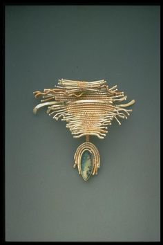 Barbara Patrick - Brooch. 14K Gold and Sterling Silver with Agate. Boulder, Colorado. Circa Early-21st Century.