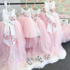 High Low Jewel Backless Pink Tulle Flower Girl Dress with Appliques Bowknot Pink Flower Girl Dresses, Tulle Flower Girl, Tulle Flowers, Pink Tulle, Little Girl Dresses, Girls Dresses, Flower Girls, Satin Tulle, Wedding Prints
