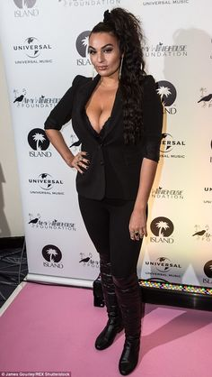 Busty display: X Factor contestant Monica Michael showed off some serious cleavage in an a...