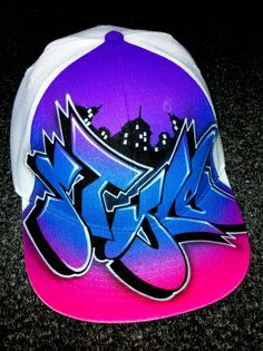 Graffiti Personalized Airbrushed Hats by Ergun Yasar. His use of color and design is incomparable. Visit www.airbrushactio... for more info.