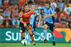 Sydney FC's Italian maestro Del Piero fights off Brisbane's Stefanutto and later scores his 14th goal of the year from the penalty spot.