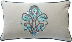 """AmazonSmile - Decorative Sequins Designer's Graphic Symbol with Piping Throw Pillow COVER 20x12"""" Blue -"""