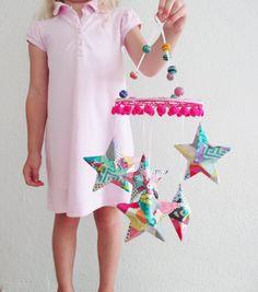 Star Mobile with Pom Pom Trim Nursery Mobile Kids by coralglass