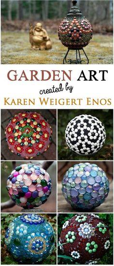 A gallery of garden art balls created by Karen Weigert Enos   Seraphinas Artworks