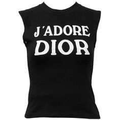 1990's Iconic Christian Dior 'J'ADORE DIOR' Muscle T (€159) ❤ liked on Polyvore featuring tops, shirts, tanks, blusas, christian dior shirt, muscle t shirts, white singlet, white tank and christian dior