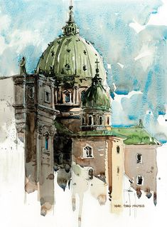 Urban sketchers show the world, one drawing at a time. Art Et Architecture, Watercolor Architecture, Watercolor Landscape, Classic Architecture, Urban Sketchers, Watercolor Sketch, Watercolour Painting, Watercolor Trees, Watercolor Artists