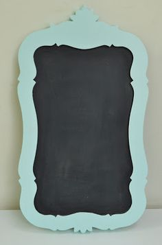 DIY chalkboard from old mirror {tutorial} fit it to theme... Can use flower detail or princess detail