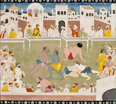 Indian Epics: Images and PDE Epics: Image: Krishna and Balarama Fight Kamsa's Wrestlers