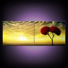 metallic gold yellow tree painting cloud painting by mattsart, $200.00