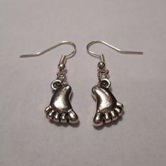 Silver Baby Feet Dangle Earrings by MysticMountainJewels on Etsy