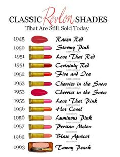 Classic REVLON shades still sold today. Fire and Ice is my everyday lipstick! Revlon Red is my go-to nail polish colour