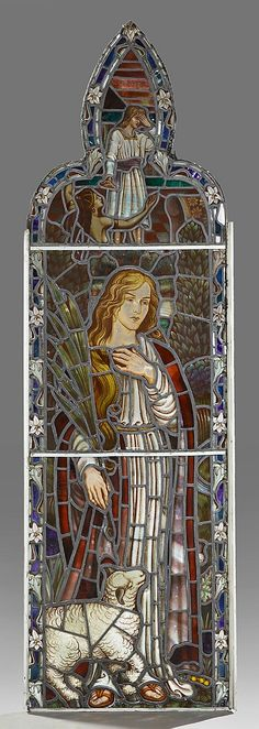 English Reverse Painted Leaded Stained Glass Panel, 19th c., depicting Ruth, within a border of lilies, in a wooden frame.
