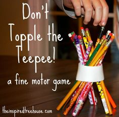 DON'T TOPPLE THE TEEPEE! - THE INSPIRED TREEHOUSE #Kids will get a kick out of this fun #Thanksgiving game that builds #finemotorskills and #visual skills!