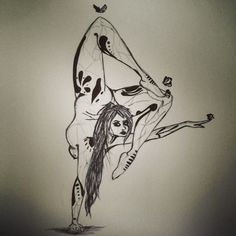 Butterfly Contortionist. I find contorted poses to be very interesting and fun to draw. Another sketch with pen.