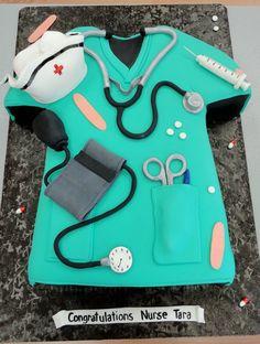 nursing school graduation cake by slice custom cakes-also great for Nurse's Day Nurse Grad Parties, Nurse Party, Nursing School Graduation, School Parties, Graduate School, Medical School, Graduation Ideas, Medical Cake, Medical Party