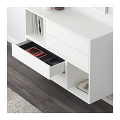 IKEA - EKET, Wall-mounted cabinet combination, white, , Hide or display your things by combining open and closed storage.The drawers have integrated push-openers, so you don't need knobs or handles and can open the drawer with just a light push.