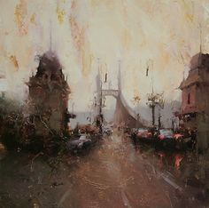Red Lights in the Dusk by Tibor Nagy Oil ~ 19,7 x 19,7