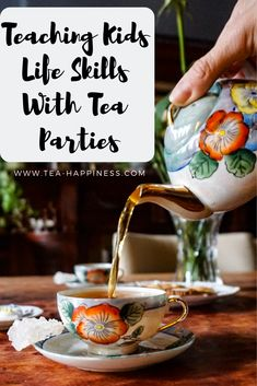 Throwing a tea party is a fun way to teach kids about tea, and they can learn important life skills too. Children benefit from all forms . Tea Party Theme, Tea Party Birthday, Tea Party For Kids, Toddler Tea Party, Tea Party Activities, Conversation Starters For Kids, Manners For Kids, Tea Etiquette, Autumn Tea