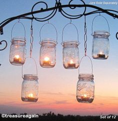 Mason Jar Chandelier DIY Candles Lanterns by treasureagain on Etsy
