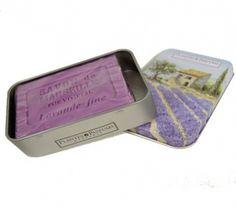 Lavendel zeep in blik, leuk als cadeau.