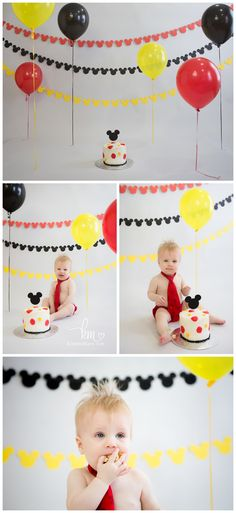 Mickey Mouse Cake Smash Session – Indianapolis Child Photography | http://kristeenmarie.com/photography/blog/mickey-mouse-cake-smash-session-indianapolis-child-photography/