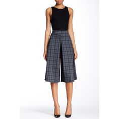Painted Threads Plaid Knit Culotte ($14) ❤ liked on Polyvore featuring pants, capris, grey plaid, gray pants, tartan pants, grey pants, grey plaid pants и grey trousers
