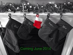 Third child birth announcement. Just in time for the holidays!  Announce with an extra stocking hung by the fire! Pregnancy announcement
