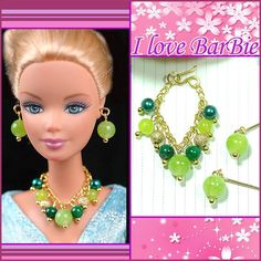 barbie doll jewelry set barbie necklace and earring by sinogem, $5.99