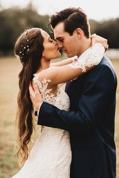 sheer lace long sleeve wedding gown #southernbride #southernwedding #wedding