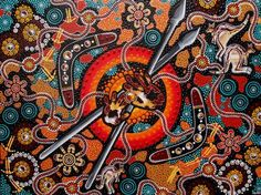 "This 3D painting by Chern'ee Sutton is called ""Kurla to Kunkgu"" which means ""Father to Son"" in the Kalkadoon language."