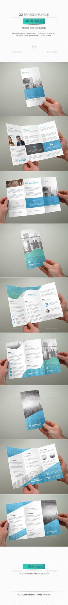 3 Tri-Fold Brochure Bundle - Multipurpose Template #design Download: http://graphicriver.net/item/3-trifold-brochure-bundle-multipurpose/12838668?ref=ksioks