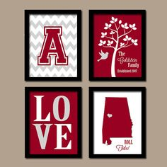 University of Alabama College BAMA Roll Tide Custom Family Initial State LOVE Bird Tree Wedding Date Set of 4 Prints Wall ART Graduation