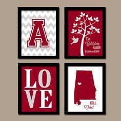 University of Alabama College BAMA Roll Tide Custom Family Initial State LOVE Bird Tree Wedding Date Set of 4 Prints Wall ART Graduation