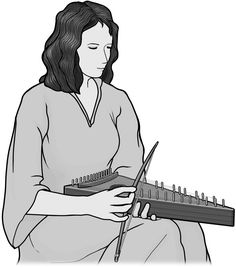 [ psaltery ] bowed string instrument. grayscale image.