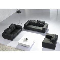 Verne - Modern Black Leather Sofa Set - Sofas & Sets - Living Room