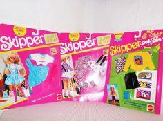 """3 Vtg. 1990/91 Unopened Packs of Barbie's Littel Sister """"Skipper"""" Clothes & Acc. #Mattel #ClothingShoes"""