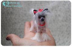 Chinese Crested Dog/OOAK miniature felt dog/Needle felt