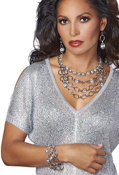 """FREESTYLE 7.5""""-9"""" Bracelet Pierced Earrings 18""""-20"""" Multi-Strand Necklace"""