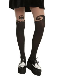 These tights from none other than Hot Topic give the illusion of over-the-knee socks, without having to constantly adjust them. Plus, they feature Jack Skellington and the hill from The Nightmare Before Christmas, so yeah. Nightmare Before Christmas, Christmas Tights, Christmas Fashion, Christmas Stockings, Black Christmas, Christmas Clothing, Christmas Makeup, Winter Fashion, Thigh High Tights