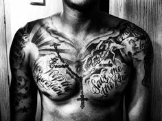ae59f8881 Good and Evil chest piece tattoo by Amanda Pepper at Thuderdome in ... Good  · Good And Evil TattoosStar ...