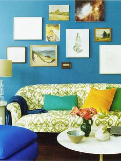 Sofa upholstered in China Seas 'Bali Isle' print in Avocado on Tint. Photo from domino, September 2008 (not sure of the photographer); posted on quadrillefabrics.com.