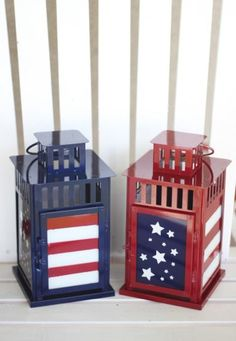 Patriotic lanterns - a simple way to spruce up the home with cute and functional decor!