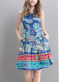 Look what I found on #zulily! Blue Paisley Fit & Flare Dress #zulilyfinds