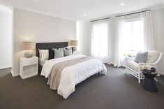 BEDROOM - MASTER SUITE of Malibu 29 single storey home. On display at Housing World Wongawilli. Part of the Evolve range and brought to you by Masterton Homes Home Bedroom, Master Bedroom, Bedrooms, Malibu Homes, Comfy Sofa, Storey Homes, New Home Builders, Love Home, Open Plan Living