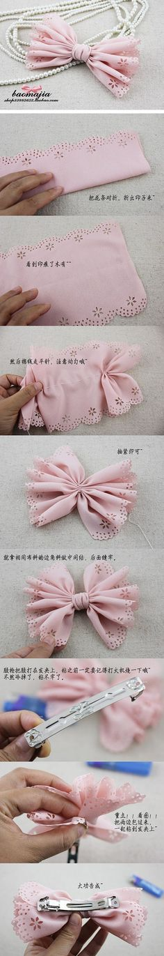 Love the material used! Could even put it on the pearls as a necklace for Kara Diy bow. Love the material used! Fabric Bows, Ribbon Bows, Fabric Flowers, Ribbons, Diy Hair Bows, Diy Bow, Diy Headband, Baby Headbands, Cute Crafts